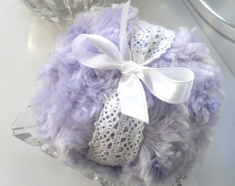 Body Powder Puff - lavender purple and white - crochet lace bath pouf - gift box option - lilac purple duster - handmade by Bonny Bubbles