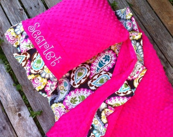 Personalized  Nap Mat Cover with attached Ruffle Minky Blanket & Ruffle Pillow Case for the Kindermat Daydreamer