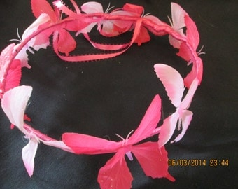 Pink Butterfly Hair Wreath -  Butterfly Crown - Butterfly Hair Wreath -  Hair Crown