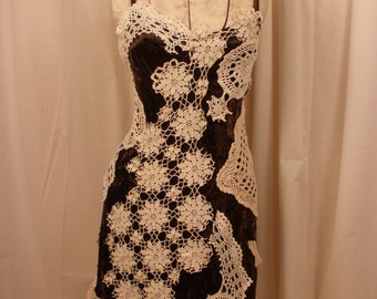 Velvet Slip Dress The Chelsea Hotel from my Leanord Cohen Inspired Collection  Vintage Crochet Work