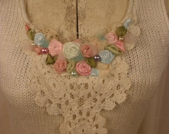 White Wisp Tunic Sweater with Vintage Crochet Work and Pastel Roses with Pearl Accents