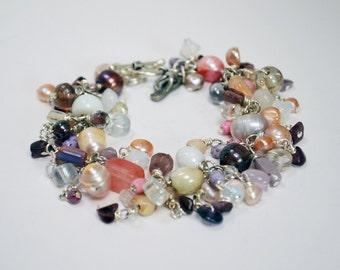 Boho Beach Bracelet Womens Bracelet Pink Peach Purple Fresh Water Pearl Bracelet Glass Gemstone Bracelet Sterling Silver Bracelet Boho Charm