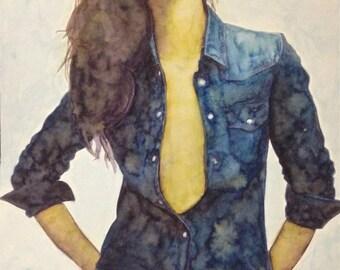 BLUE JEANS- Watercolour Print