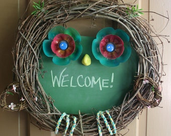 Owl Grapevine Wreath with Chalkboard Sign  -- Welcome, Happy Birthday, New Baby