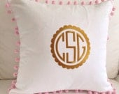 Gold Scalloped Monogram Pom Pom Pillow