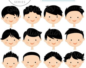 Black Hair Boy Faces - Create A Character Series - Cute Digital Clipart - Commercial Use OK - Mix & Match Sets to Create Your Own Character