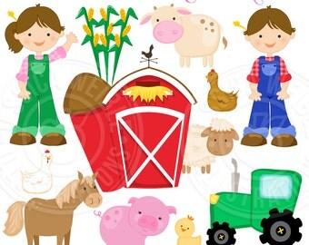 MacDonalds Farm Cute Digital Clipart - Commercial Use OK - Farmer Clipart, Farm Graphics, Farm Animals