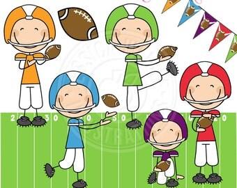 Football Boy Stick Figures Cute Digital Clipart - Commercial Use OK - Boys Football Stick Figure Clipart, Football Graphics, Stick Figures