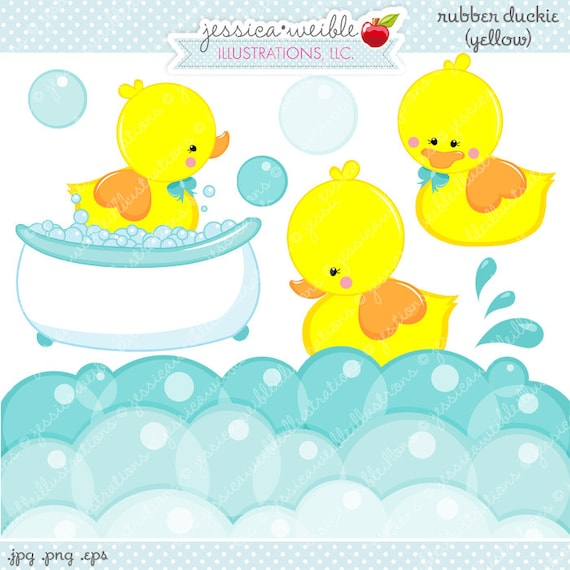 Yellow Rubber Duckie Cute Digital Clipart Commercial Use OK