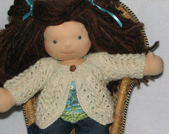 "Doll Sweater in Lacy Pattern MADE  to ORDER for a 15"" Waldorf style doll"