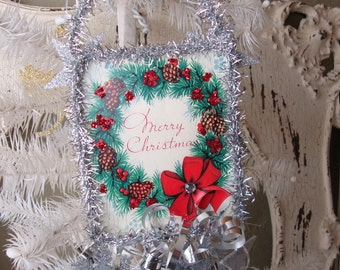 Vintage Christmas card ornament paper altered art Merry Christmas wreath ornament mixed media card scrap tags Christmas Home Decor