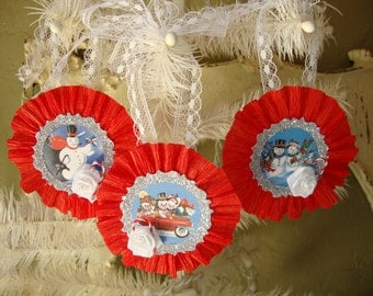 Vintage Style Christmas paper ornaments tags Red White silver glittered Christmas decor retro snowman tags gifts for Christmas ornaments