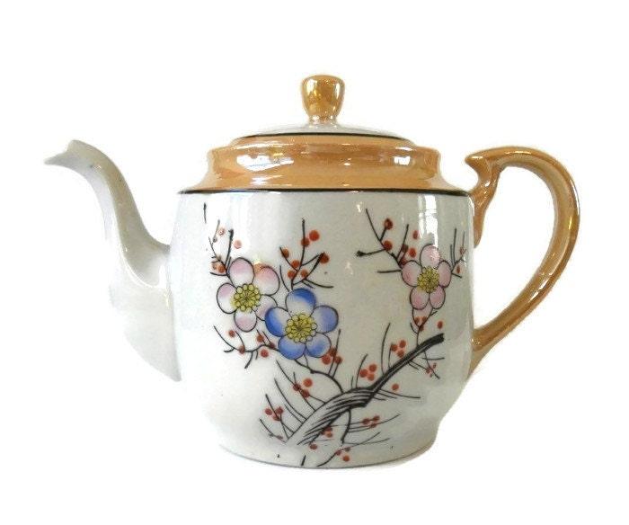 Vintage Lusterware Tea Pot Japanese Teapot Flower Design