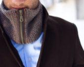 luxurious cowl, infinity scarf, neckwarmer, mens accessory, baby alpaca, silk GENTS-Sir.