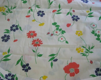 Vintage FLoral Fabric , Flowers, Ladybugs, Cotton