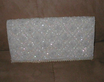 Vintage Off-White Beaded Clutch Purse