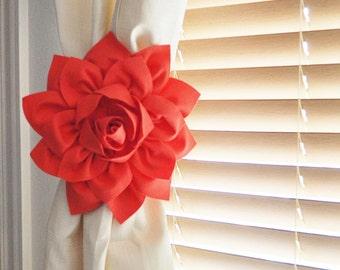 White Bow Curtain Tie Backs. TWO Decorative Tiebacks Curtain