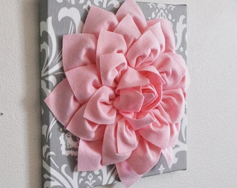 "Wall Art Canvas -Flower Wall Art -Light Pink Dahlia on Gray and White Damask 12 x12"" Canvas Wall Art- Baby Nursery Wall Decor-"