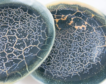 Blue Ceramic Plate Snack Plate Salad Plate Lunch Plate 8-inch Starry Glaze One of a Kind, Handmade Artisan Pottery by Licia Lucas Pfadt
