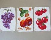Vintage 3 fruit knife napkins from Kreier