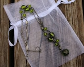 Bohemian Necklace of Green Art Glass Beads and Silver Metal