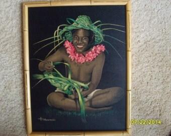 Hawaiian Art, Vintage Hawaiian Painting by Cross Cross, Old Hawaiian Painting, Hawaiian Art, Man Weaving Lauhala, Framed Hawaiian Art