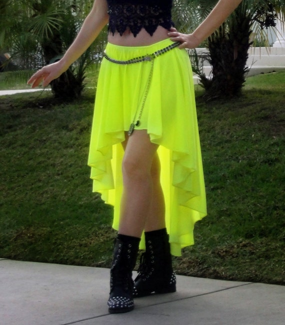 ameynra style high low skirt neon yellow cotton by