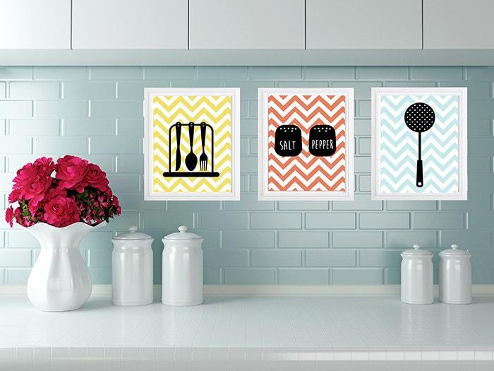 modern kitchen wall art print set kitchen digital art