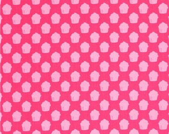 Pink Cupcake Baked with Love by Robert Kaufman Fabric 1 Yard Fabric