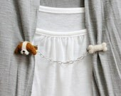 Needle Felted Beagle and Bone Sweater Guard Clips