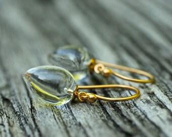 Clear Quartz Earrings Crystal Quartz Earrings Drop Earrings Dangle Earrings Small Earrings Classic Jewelry Tear Drop Earrings Gift For Her