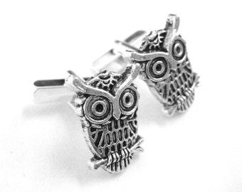 Silver Owl Cufflinks - Rustic Wedding Gift For Him - Enchanted Forrest Wedding - Woodland Wedding - Outdoor Gifts For Men Cuff Links