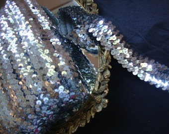 """STRETCH silver sequined trim 1 3/8"""" wide by the yard"""
