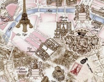 Nouveau Map of Paris Toile - Timeless Treasures - Fat Quarter