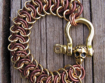 Brass Skull and Vertebrae Bracelet