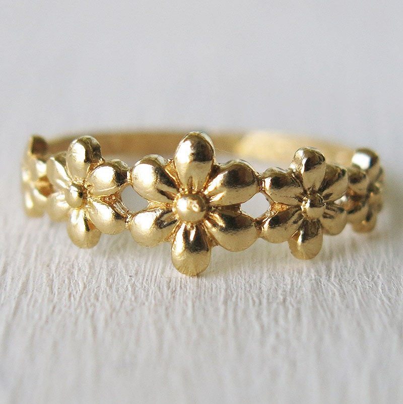 Floral Bands: Gold Ring Flower Ring Boho Rings Tiny Ring Band Ring By