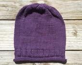 SALE / Beanie Slouchy Knitted Hat / Women Men Teen / Purple / Roll Brim
