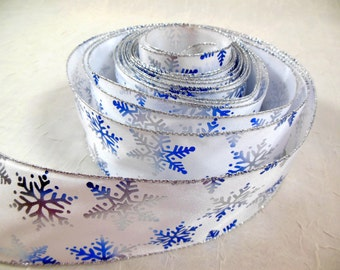 Christmas Ribbon Indigo Blue and Silver Foil Snowflakes on White Satin Wire Edge Wide Width