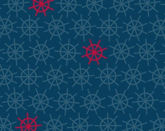 Weekend Retreat from Henry Glass Fabrics - Half Yard Ship Wheel/Helm Blue and Red  Quilt Fabric