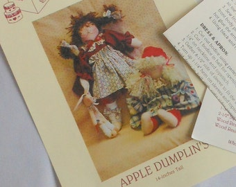 Vintage Pattern for 14 Inch Stuffed Dolls Country Style Pattern for Rag Dolls