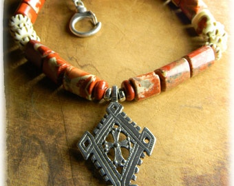 Tribal Jewelry, African Pendant Necklace, Ethiopian, Coptic Cross, Red Jasper, Tribal Necklac, Ethnic Jewelry,