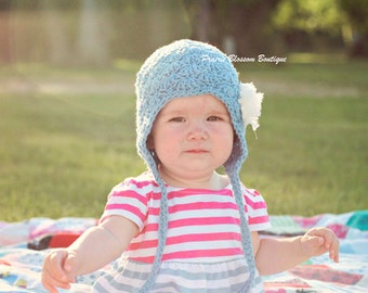 Hats for Babies, Crochet Baby Hat with Ear Flaps, Blue Baby Girl Hat with Flower, Baby Earflap Hat, 0 to 12 Months