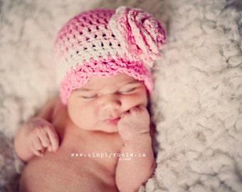 Crochet Baby Hats, Newborn Girl's Hat, Infant Baby Beanie, Pink, Cotton, Newborn Size