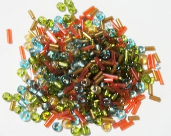 Seed Bugle Beads - Orange Green Seed Beads - Neon Mix Colors Glass -  20g -  6/0 - Jewelry Craft Beading - DIY Findings