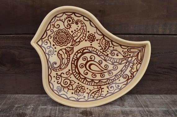 Mehndi Plates For Sale : Henna bird hand painted large ceramic plate serving