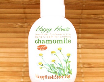 Chamomile Scented Hand Cream for Knitters 1oz Tottle - HAPPY HANDS Shea Butter Moisturizing Hand Lotion