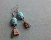 Picture Jasper and Howlite Buddha Bead Earrings