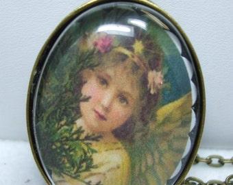 Guardian Angel Vintage Portrait Domed Glass Necklace Pendant- Super  UNIQUE-Several Choices Available