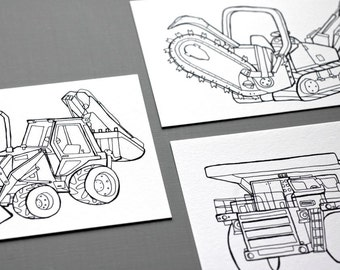 Heavy Equipment - Postcards (Set of 3, Backhoe, Mining Dump Truck and Trencher)