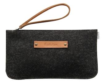 Minimalist Wool felt leather clutch - iPhone Travel wallet. Durable-Handmade in Switzerland.Charcoal grey -